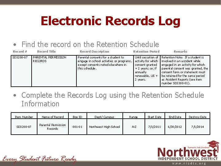 Electronic Records Log • Find the record on the Retention Schedule Record # SD