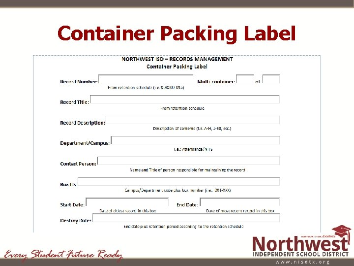 Container Packing Label