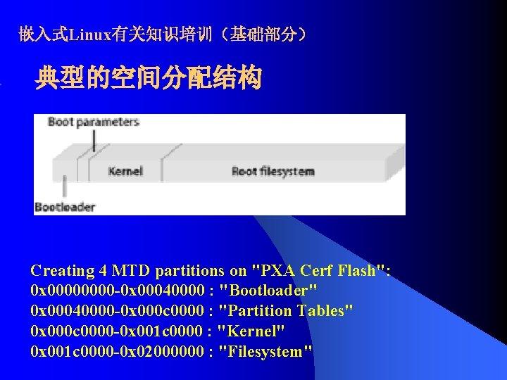 """嵌入式Linux有关知识培训(基础部分) 典型的空间分配结构 Creating 4 MTD partitions on """"PXA Cerf Flash"""": 0 x 0000 -0"""