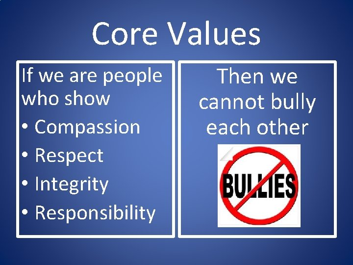 Core Values If we are people who show • Compassion • Respect • Integrity