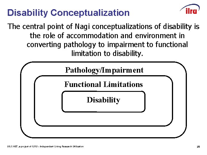 Disability Conceptualization The central point of Nagi conceptualizations of disability is the role of