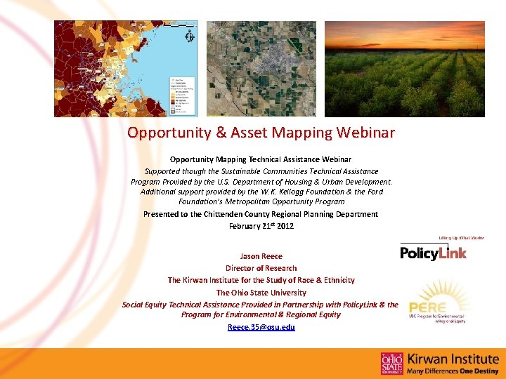 Opportunity & Asset Mapping Webinar Opportunity Mapping Technical Assistance Webinar Supported though the Sustainable