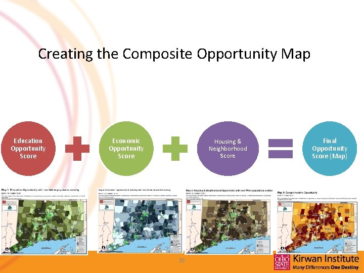 Creating the Composite Opportunity Map Education Opportunity Score Economic Opportunity Score Housing & Neighborhood