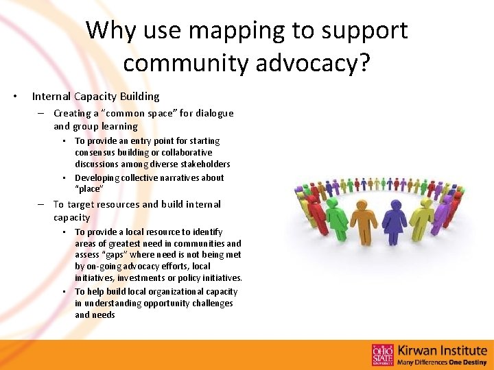 Why use mapping to support community advocacy? • Internal Capacity Building – Creating a