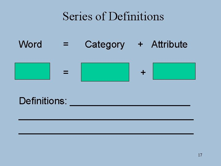 Series of Definitions Word = = Category + Attribute + Definitions: ___________________________ 17