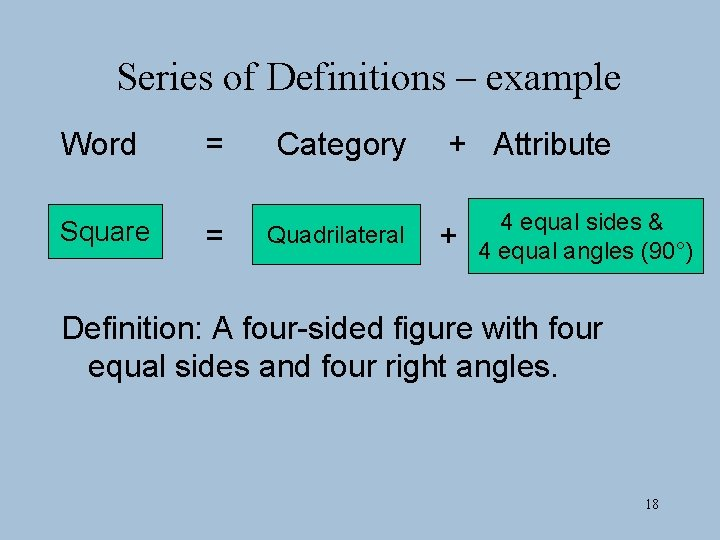 Series of Definitions – example Word = Category Square = Quadrilateral + Attribute +