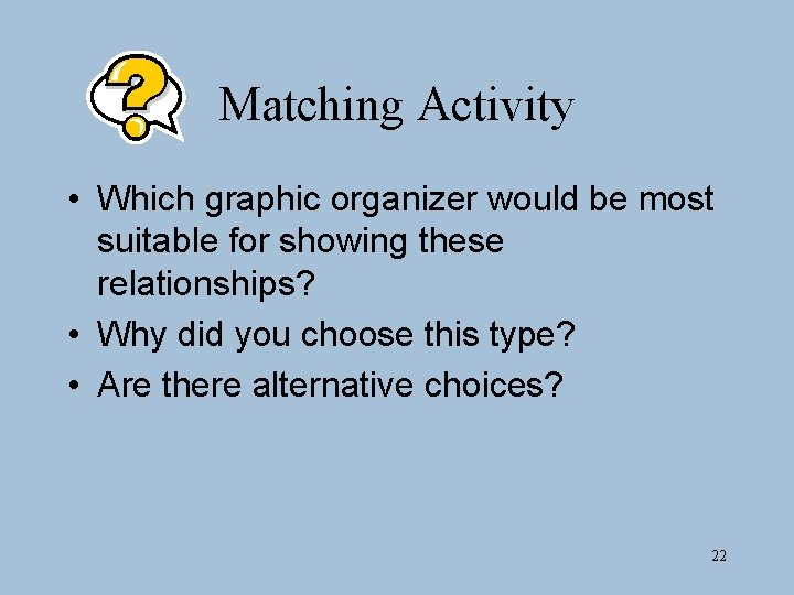 Matching Activity • Which graphic organizer would be most suitable for showing these relationships?