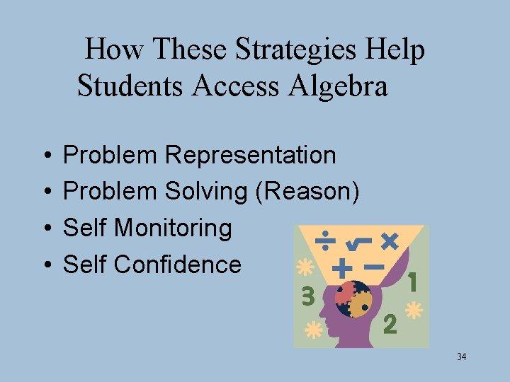 How These Strategies Help Students Access Algebra • • Problem Representation Problem Solving (Reason)