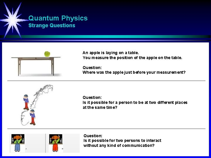 Quantum Physics Strange Questions An apple is laying on a table. You measure the