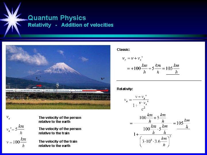 Quantum Physics Relativity - Addition of velocities Classic: Relativity: The velocity of the person