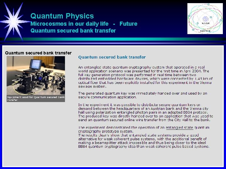 Quantum Physics Microcosmos in our daily life - Future Quantum secured bank transfer