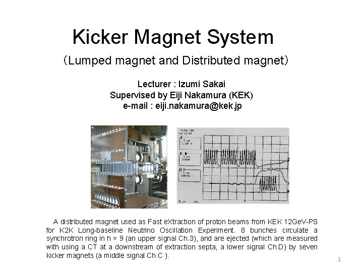 Kicker Magnet System (Lumped magnet and Distributed magnet) Lecturer : Izumi Sakai Supervised by
