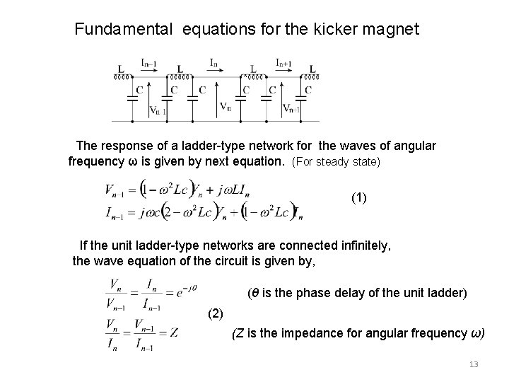 Fundamental equations for the kicker magnet The response of a ladder-type network for the