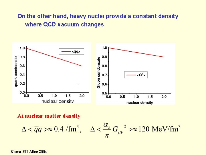 On the other hand, heavy nuclei provide a constant density where QCD vacuum changes