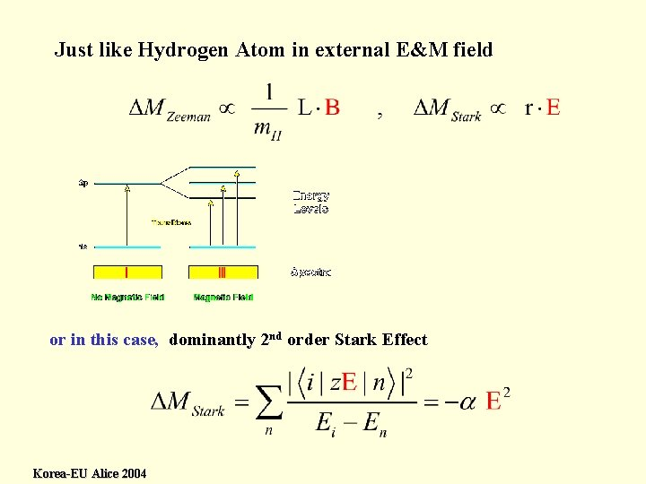 Just like Hydrogen Atom in external E&M field or in this case, dominantly 2