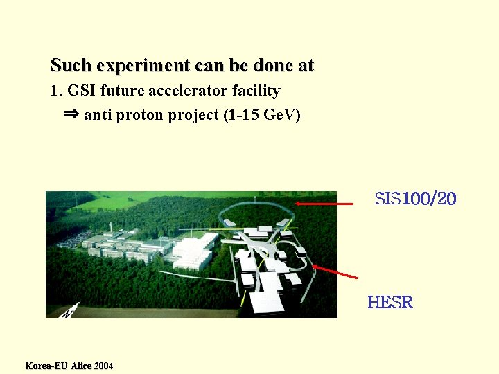 Such experiment can be done at 1. GSI future accelerator facility ⇒ anti proton