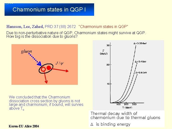 "Charmonium states in QGP I Hansson, Lee, Zahed, PRD 37 (88) 2672 ""Charmonium states"