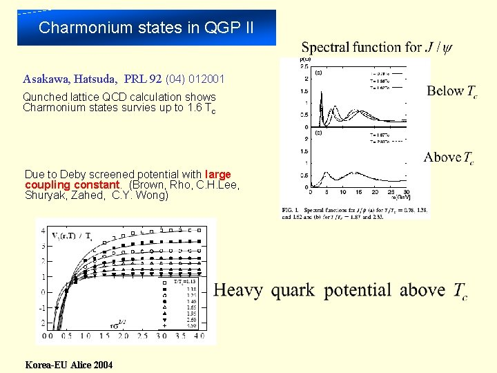 Charmonium states in QGP II Asakawa, Hatsuda, PRL 92 (04) 012001 Qunched lattice QCD