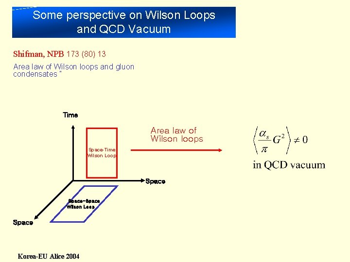 Some perspective on Wilson Loops and QCD Vacuum Shifman, NPB 173 (80) 13 Area