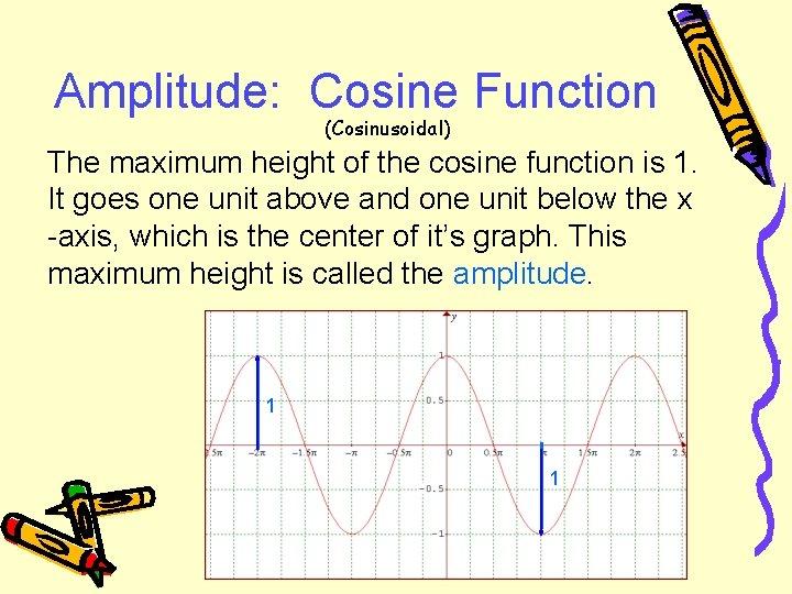 Amplitude: Cosine Function (Cosinusoidal) The maximum height of the cosine function is 1. It