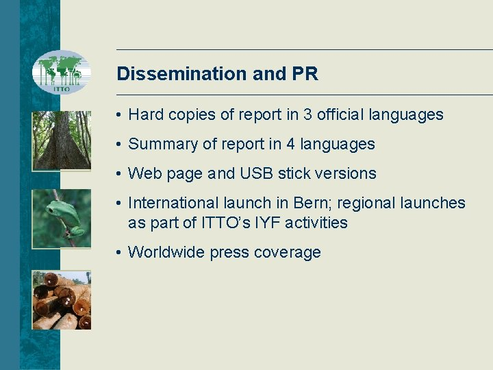 Dissemination and PR • Hard copies of report in 3 official languages • Summary