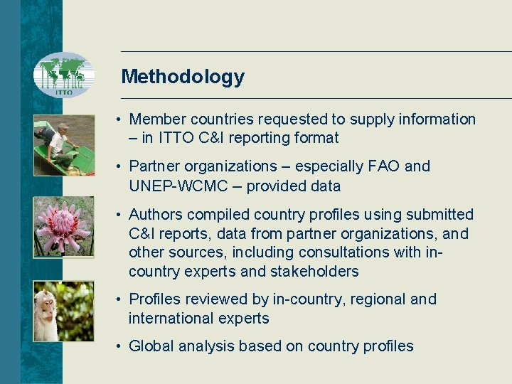 Methodology • Member countries requested to supply information – in ITTO C&I reporting format