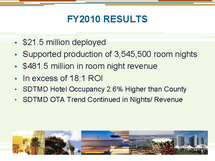FY 2010 RESULTS $21. 5 million deployed • Supported production of 3, 545, 500