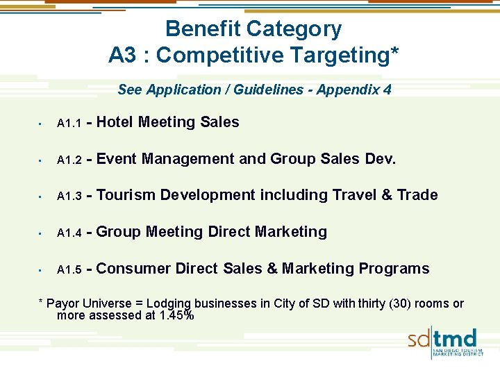 Benefit Category A 3 : Competitive Targeting* See Application / Guidelines - Appendix 4