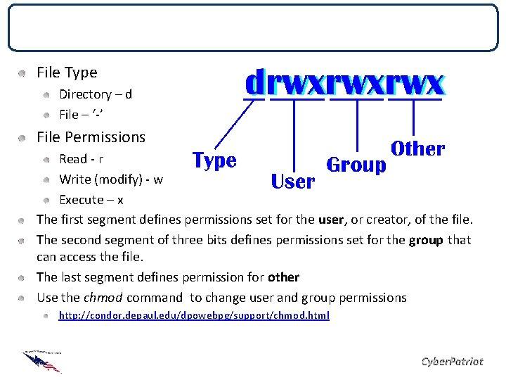File Permissions File Type Directory – d File – '-' File Permissions Read -