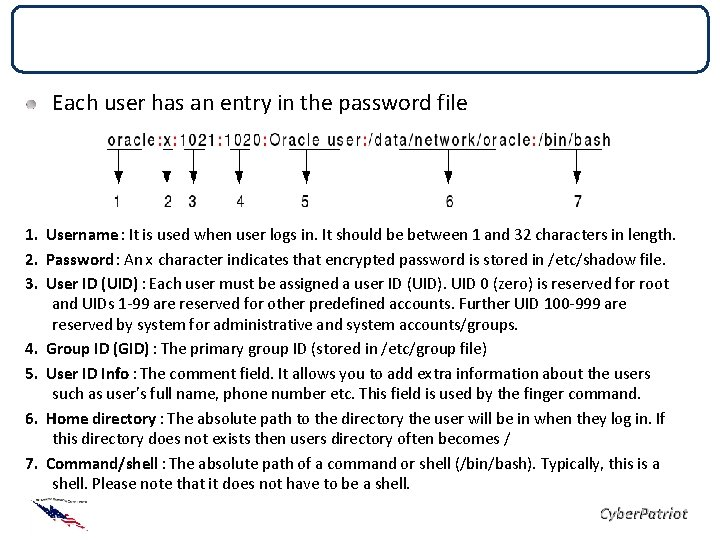 Password Files Each user has an entry in the password file 1. Username :