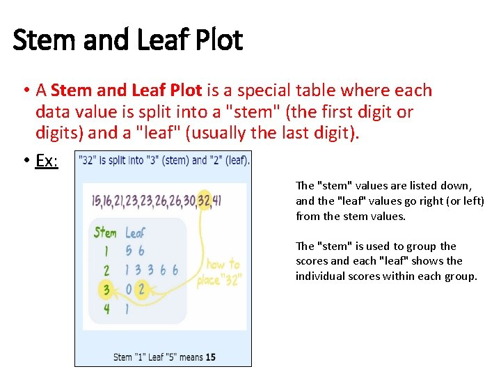 Stem and Leaf Plot • A Stem and Leaf Plot is a special table