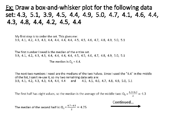 Ex: Draw a box-and-whisker plot for the following data set: 4. 3, 5. 1,