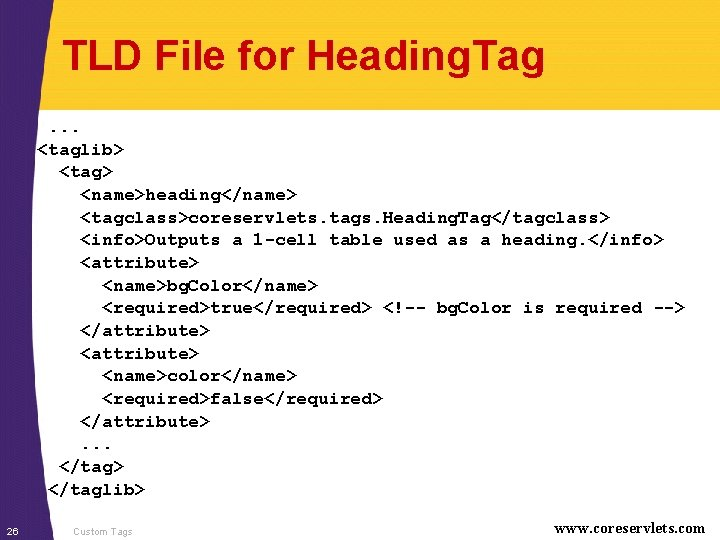 TLD File for Heading. Tag. . . <taglib> <tag> <name>heading</name> <tagclass>coreservlets. tags. Heading. Tag</tagclass>