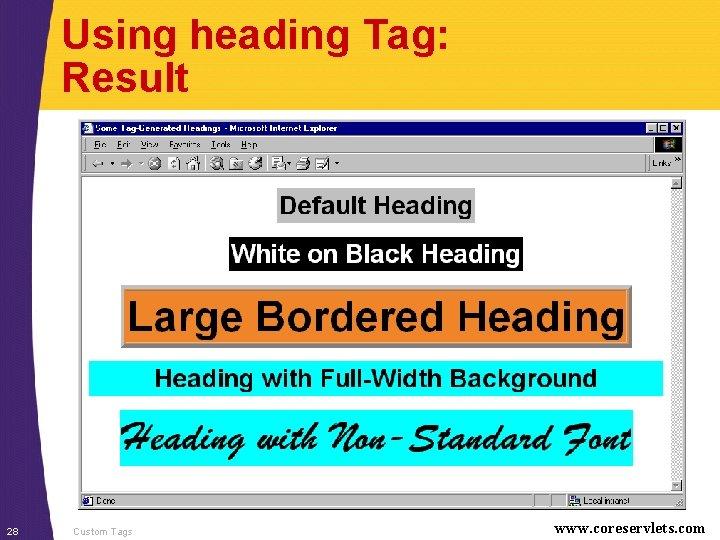 Using heading Tag: Result 28 Custom Tags www. coreservlets. com