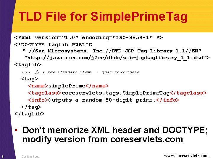 """TLD File for Simple. Prime. Tag <? xml version=""""1. 0"""" encoding=""""ISO-8859 -1"""" ? >"""