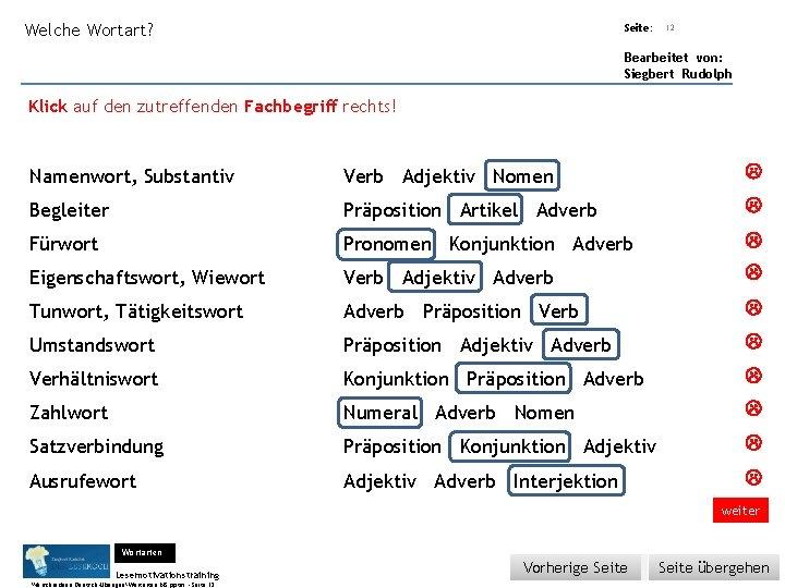 Übungsart: Welche Wortart? Seite: 12 Bearbeitet von: Siegbert Rudolph Klick auf den zutreffenden Fachbegriff