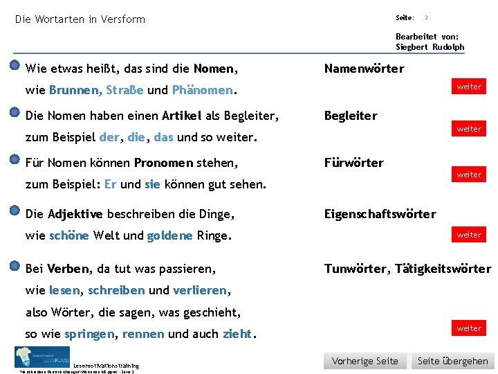 Übungsart: Die Wortarten in Versform Seite: 2 Bearbeitet von: Siegbert Rudolph Wie etwas heißt,