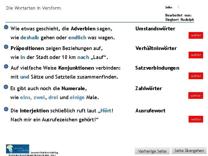 Übungsart: Die Wortarten in Versform Seite: 3 Bearbeitet von: Siegbert Rudolph Wie etwas geschieht,