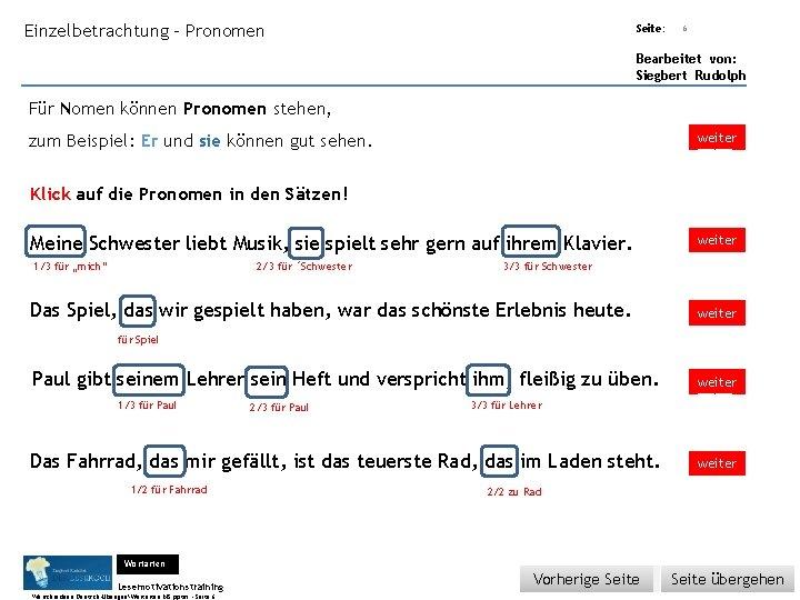 Übungsart: Einzelbetrachtung - Pronomen Seite: 6 Bearbeitet von: Siegbert Rudolph Für Nomen können Pronomen