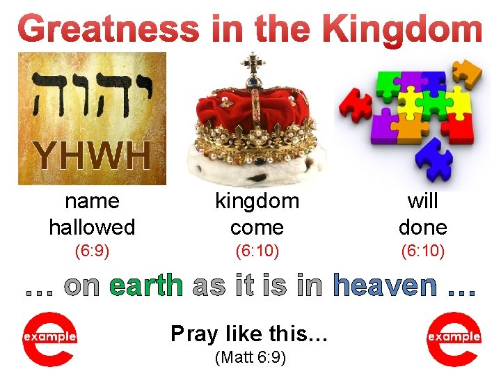 name hallowed kingdom come will done (6: 9) (6: 10) … on earth as