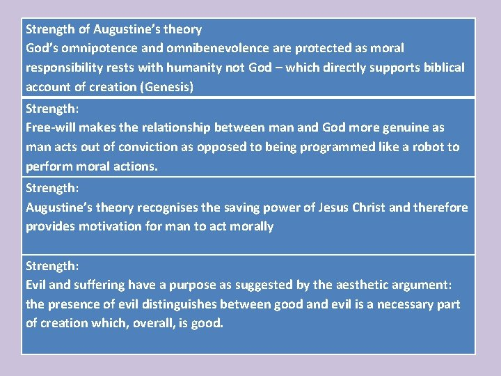 Strength of Augustine's theory … God's omnipotence and omnibenevolence are protected as moral responsibility