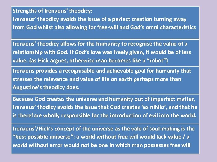 Strengths of Irenaeus' theodicy: Irenaeus' theodicy avoids the issue of a perfect creation turning