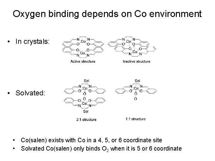Oxygen binding depends on Co environment • In crystals: • Solvated: • Co(salen) exists