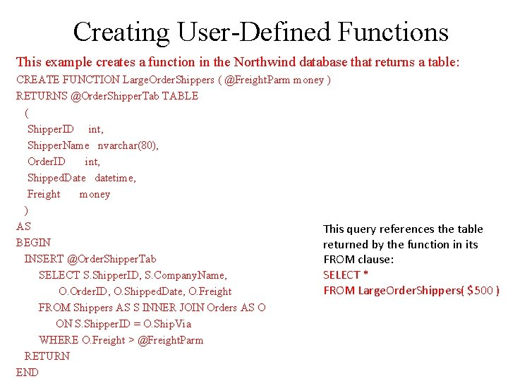 Creating User-Defined Functions This example creates a function in the Northwind database that returns