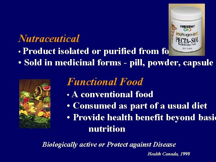 Nutraceutical • Product isolated or purified from foods • Sold in medicinal forms -