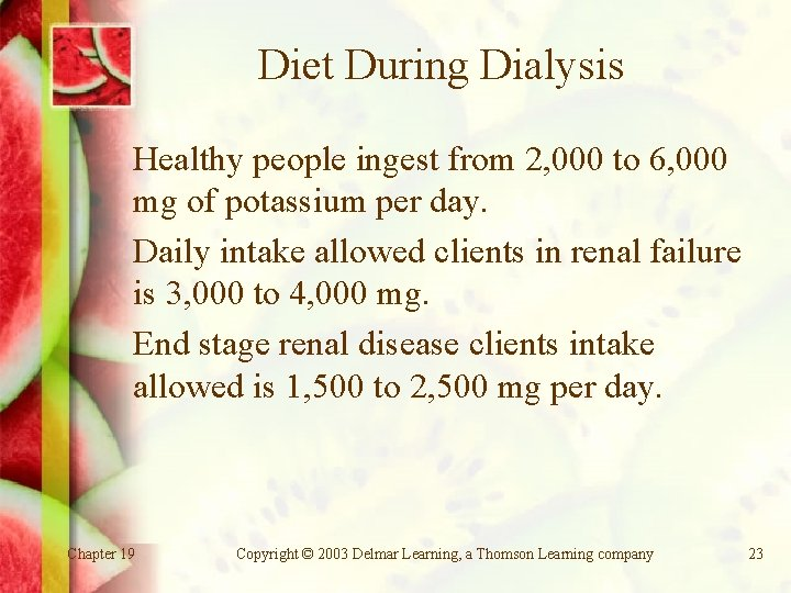 Diet During Dialysis Healthy people ingest from 2, 000 to 6, 000 mg of