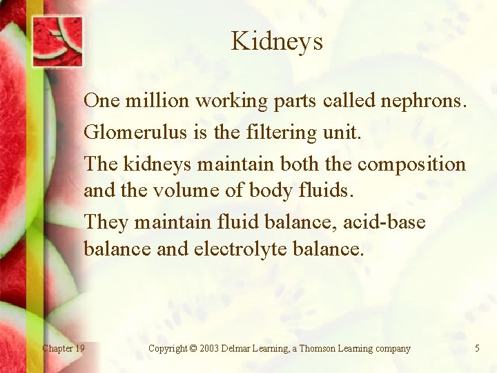 Kidneys One million working parts called nephrons. Glomerulus is the filtering unit. The kidneys