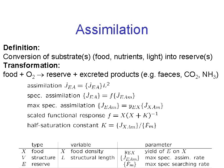 Assimilation Definition: Conversion of substrate(s) (food, nutrients, light) into reserve(s) Transformation: food + O