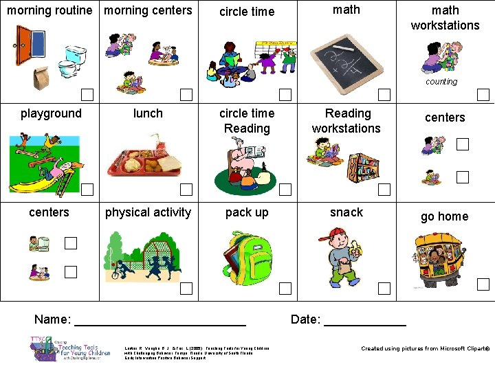 morning routine morning centers math circle time math workstations counting ☐ playground ☐ lunch