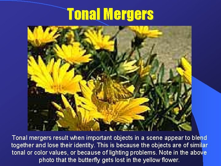 Tonal Mergers Tonal mergers result when important objects in a scene appear to blend